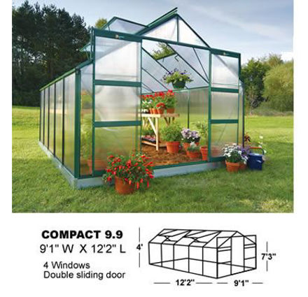 Picture of Juliana Compact Plus 9.9 Cold Weather Greenhouse with Heater, Base...