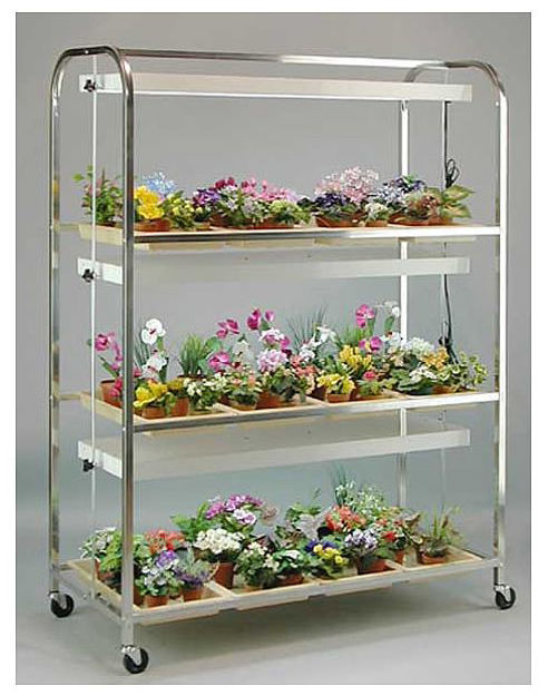 Picture of Full Size Lite Cart 3 Shelf / 12 Tray w/Wheels and 3, 2 Lamp Fixtures