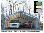 Picture of 22 x 24 x 12 House Style Portable Garage
