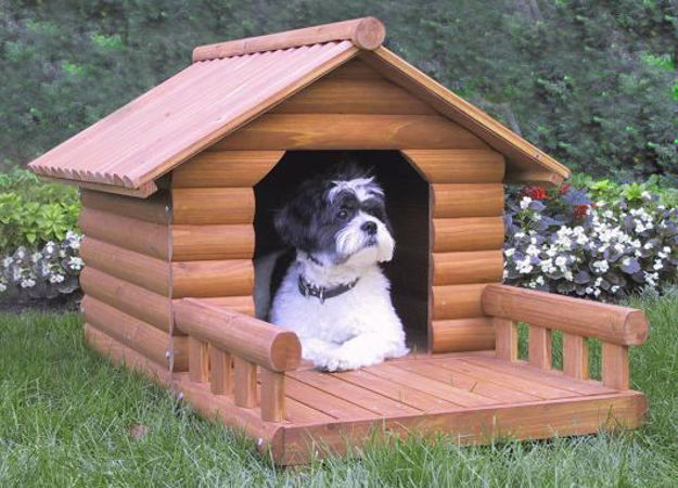 Picture of Log Cabin Dog House Set