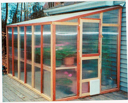 Picture of Mariposa Lean-To 7' W x 16' L Redwood Greenhouse