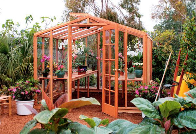 Picture of Riverside 9' W x 16' L Redwood Greenhouse kit
