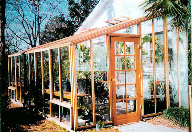 Picture of Sonoma 4'W x 16'L Redwood Lean-To Greenhouse