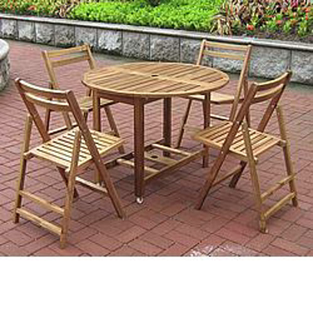 Picture of Round Folding All-Weather Wood Table Set