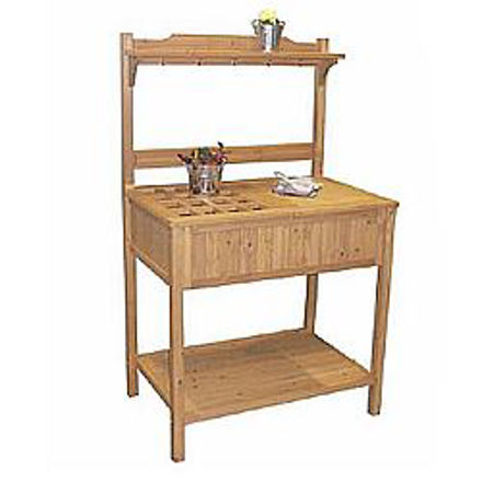 Picture of Wood Potting Bench with Recessed Storage