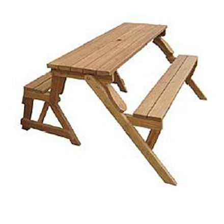 Picture of Wood Picnic Table & Garden Bench - 2 in 1